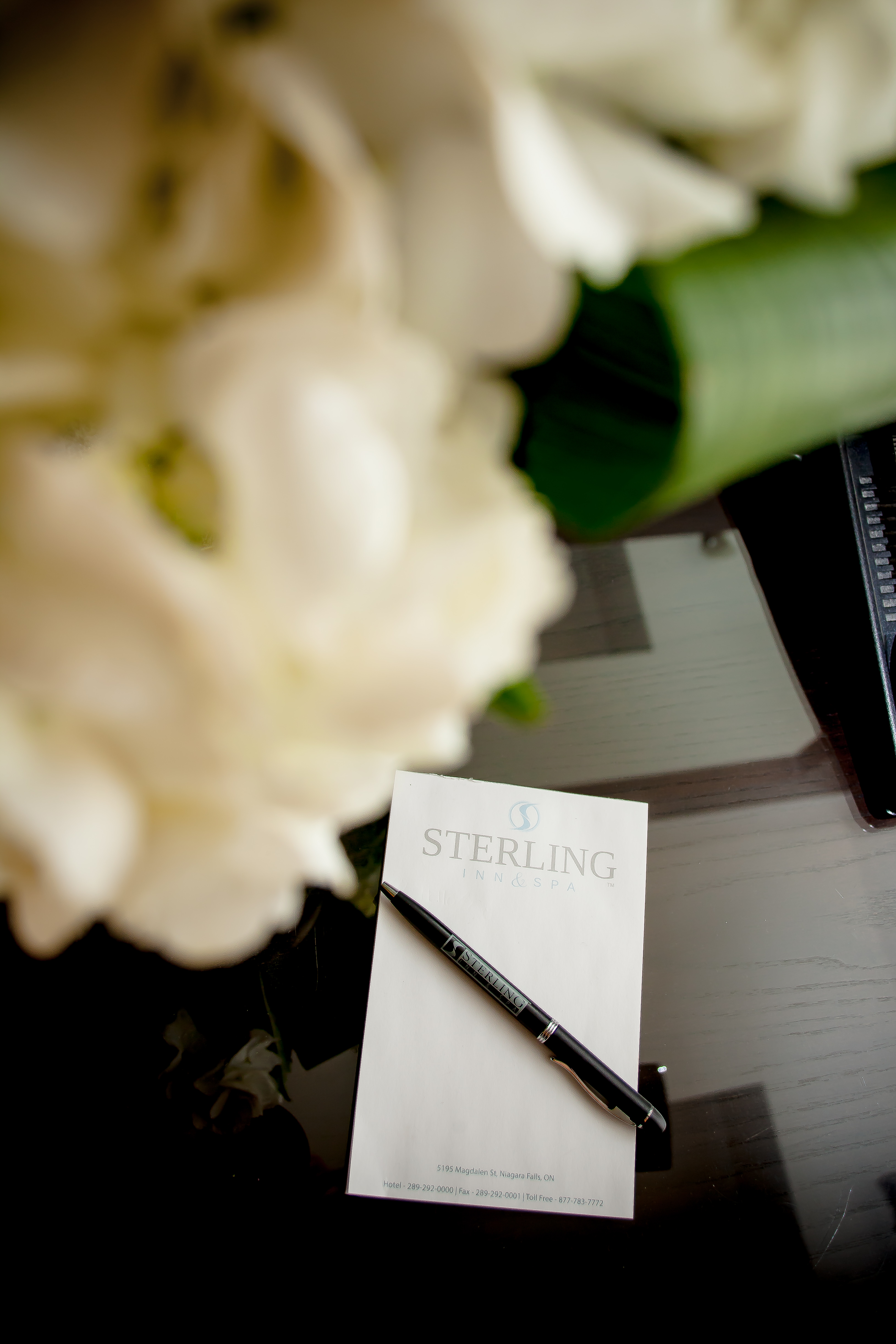 Flower and Notepad - Sterling Inn & Spa